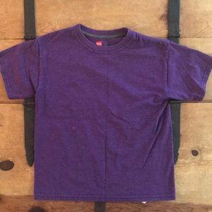 Hanes Boys Size Small Plain Purple Tee Shirt